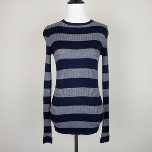 Vince Navy Gray Striped Long Sleeve Knit Sweater